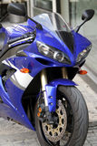 Motorbike. A Blue Motorbike front view Stock Photos