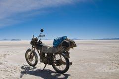 Motorbike. A motorbike on the salt lake of Uyuni in Bolivia stock photo