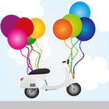 Motorbike and balloons Stock Photography