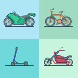 Motorbike bicycle kick board scooter chopper trans Stock Photos
