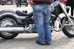 Motorbike and biker Stock Photos