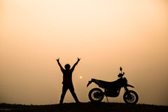 Motorbike and biker Royalty Free Stock Image