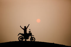 Motorbike and biker Royalty Free Stock Images