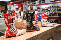 Motorbike boots at EICMA 2013 in Milan, Italy Stock Photo