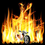 Motorbike, chopper on fire background. Vector illustration motorbike travels on a background of fire flame in the dark Stock Photo