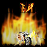 Motorbike, chopper on fire. Vector illustration motorbike, chopper, smashes a glass frame and pulled out of the fire Royalty Free Stock Images