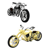 Motorbike, chopper isolated objects Stock Photography