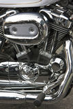 Motorbike chrome. Closeup of a motorbike engine royalty free stock photos
