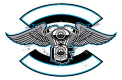 Motorbike club badge with engine and wings Royalty Free Stock Photography