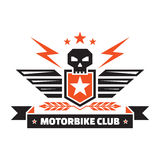Motorbike club - vintage badge - skull, shield, wings, lightings, ears, stars, ribbon. Creative vector badge design Royalty Free Stock Photo