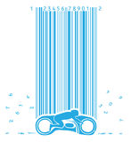 Motorbike In Code Rain Royalty Free Stock Images