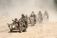 Free Motorbike Convoy In World War 2 Royalty Free Stock Images - 67852929