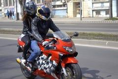 Motorbike couple Royalty Free Stock Image