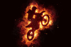 Motorbike cross bike motorcross flames burn fire. Illustration Royalty Free Stock Images