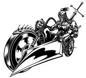 Motorbike crusader. Crusader racing on a bike, lance in his hand. Black and white Stock Images