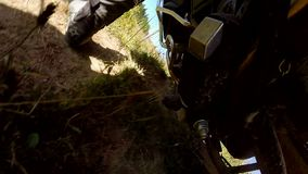 Motorbike driving along the country road stock video footage