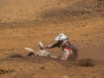 Motorbike driving uphill. Styria, Austria - June 7, 2015: Austria, EU - June 7th, 2015: Erzberg Rodeo 2015, Motocross Mekka for MX drivers around the world Royalty Free Stock Photography