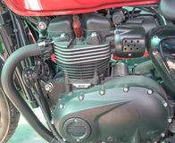 Motorbike engine close-up detail background. stock photo