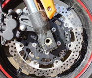 Motorbike engine disk brake Stock Images
