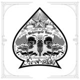 Motorbike front view between two skulls flags and torch nside ace of spades form. Vintage motorcycle design playing card or t t-sh. Irt element on white stock illustration