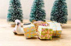 Motorbike and gift boxes with christmas celebration concept Stock Photo