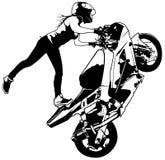 Motorbike Girl On The Rear Wheel Royalty Free Stock Image