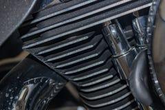 Motorbike Harley detail chromed plated iron metal Royalty Free Stock Photos
