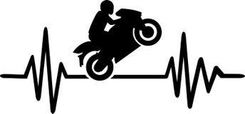 Motorbike heartbeat line. Heartbeat pulse line with motorbike stunt driver Stock Image