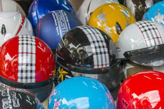Motorbike helmets Stock Image