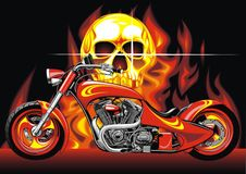 Motorbike and human skull. On the fire background Stock Photography