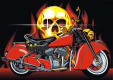 Motorbike and human skull Stock Photos