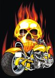 Motorbike and human skull Stock Images
