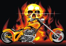 Motorbike and human skull Stock Image