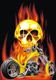 Motorbike and human skull Royalty Free Stock Photography