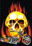 Motorbike and human skull Royalty Free Stock Images