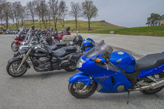 Motorbike meeting at fredriksten fortress, bikes lined up Stock Images