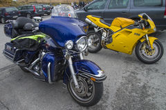 Motorbike meeting at fredriksten fortress, harley davidson, elec Royalty Free Stock Image