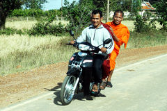 Motorbike monks Stock Photos