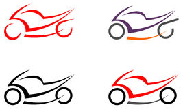 Motorbike, motorcycle -  image, tattoo. Motorcycle on white background -  icon. Can be used as logo. Tattoo sketch. Design element Stock Image