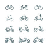 Motorbike, motorcycle, scooter, bike, bicycle thin line vector icons. Linear motorbike and bicycle, illustration of scooter and motor bike Royalty Free Stock Image