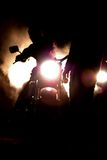 Motorbike at night. Abstract motorbike rider with lights on at night Stock Photo