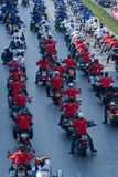 Motorbike parade in Bangkok, Thailand Royalty Free Stock Images