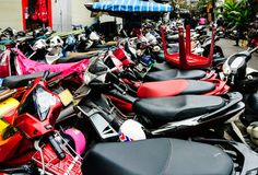 Motorbike parking bsckground Royalty Free Stock Photos