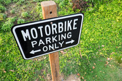 Motorbike parking label. Motorcycle parking only Royalty Free Stock Photography