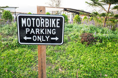 Motorbike parking label. Motorcycle parking only Royalty Free Stock Photo