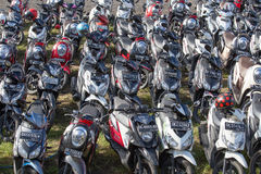 Motorbike parking on the street. Ubud, Indonesia Royalty Free Stock Image