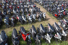 Motorbike parking on the street. Ubud, Indonesia Stock Photo
