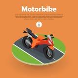 Motorbike on Part of Road. Motorcycle, Bike, Cycle Stock Photos