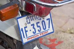 Motorbike plate in Phnom Phen, Cambodia Royalty Free Stock Images