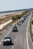 Motorbike procession - Jeeps and Harley in Spain Stock Images